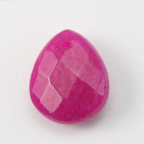 Jade colored rose  Flat Teardrop faceted  12*15mm X 1pc