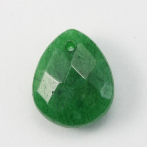 Jade colored green Flat Teardrop faceted  12*15mm X 1pc