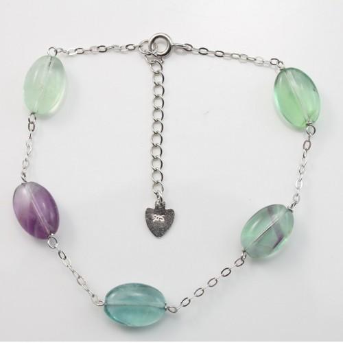 Bracelet chaîne silver 925 fluorite