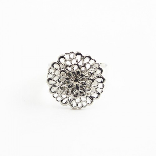 Filigreed ring base silver  tone 19.5mm x 1pc