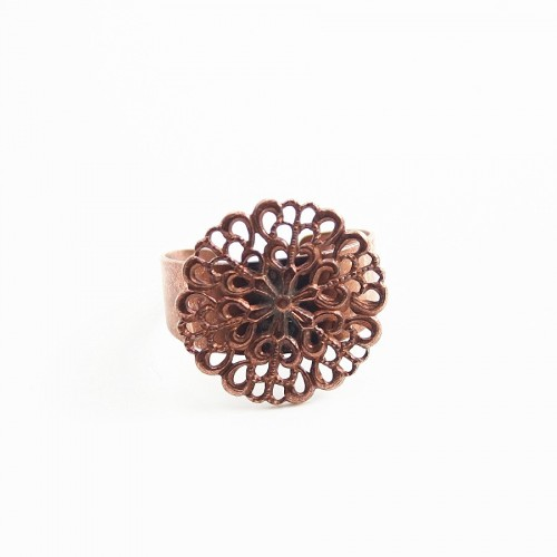 Filigreed ring base old copper  tone 19.5mm x 1pc