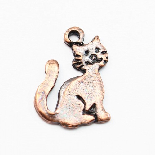 Cat charm old copper tone 15mm x 2 pcs