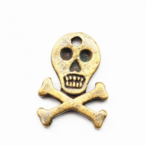 Skull charm bronze tone 15mm x 2 pcs