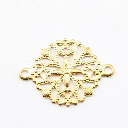 Round Filigreed 2 loops gold  tone 13mm x 2pcs