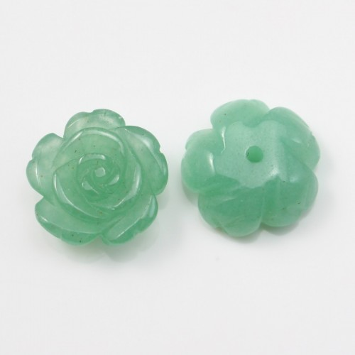 Cabochon Semi-perforated avanturine  flower 15mm x 1pc