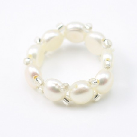 Ring with Freshwater Pearl elastique