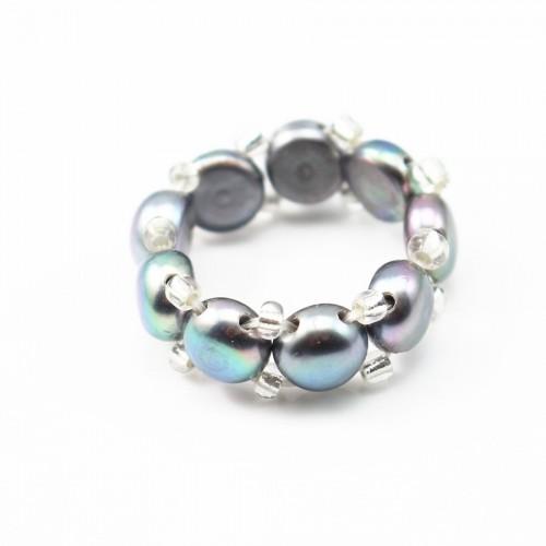 Ring grey Freshwater Pearl elastique x 1pc