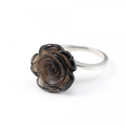 Sterling Silver Ring with Flower on Smoky Quartz