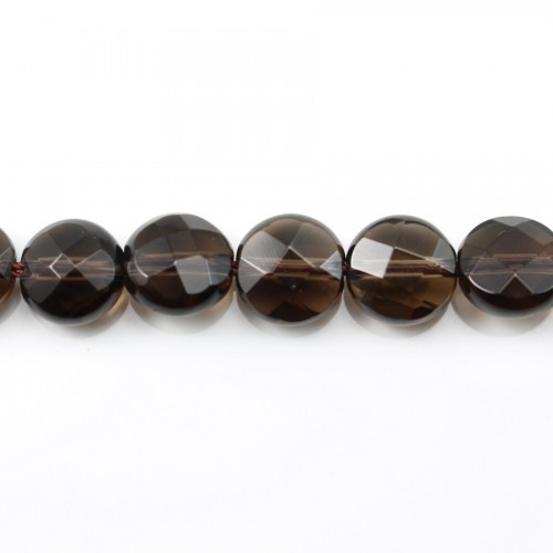Smoky Quartz Faceted Flat Round 10mm X 40cm