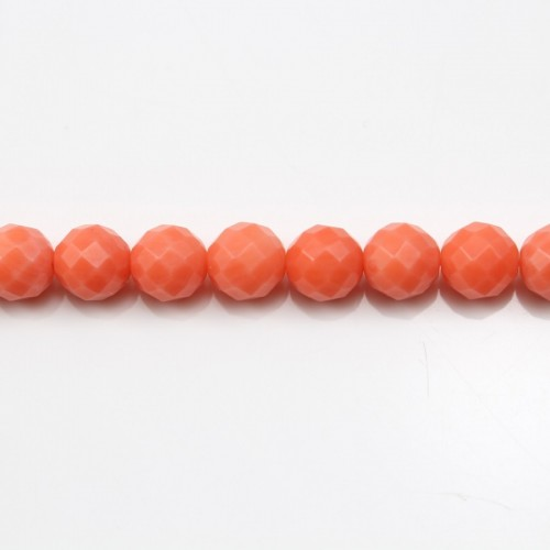Colored Orange Faceted Round Sea Bamboo 6mm X 40cm