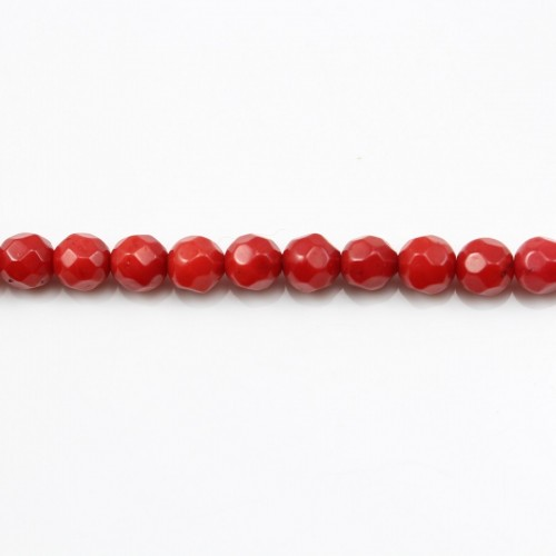Red colored round faceted sea bamboo 4mm X 40cm