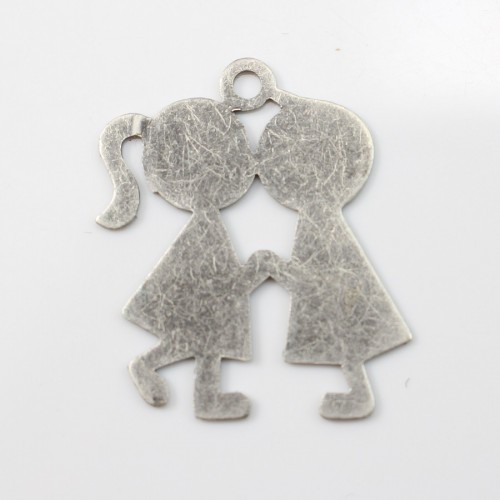 Kiss boy&girl charm old silver tone 2*2.5mm x 1 pc