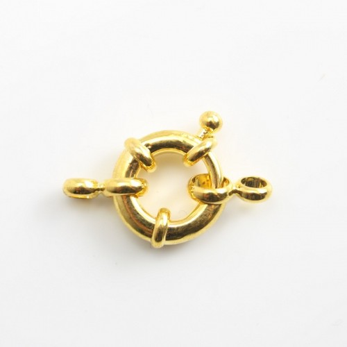 Golden tone spring ring clasp 10mm  x 1 pc