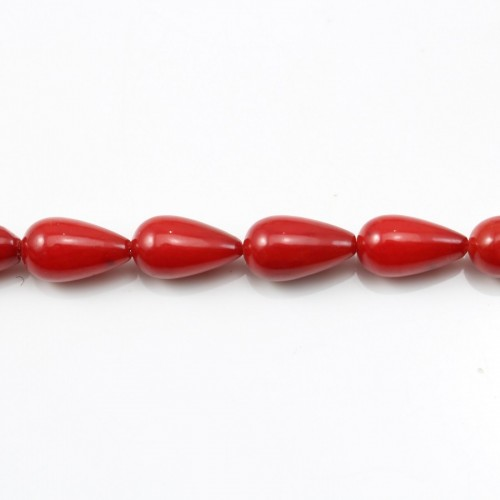 Red colored Teardrop sea bamboo 2*6mm x 40cm