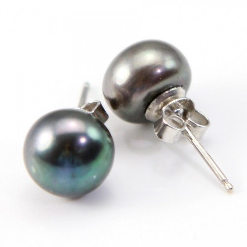 Earrings : gray freshwater cultured pearl &  silver 925   9-10mm x 2pcs