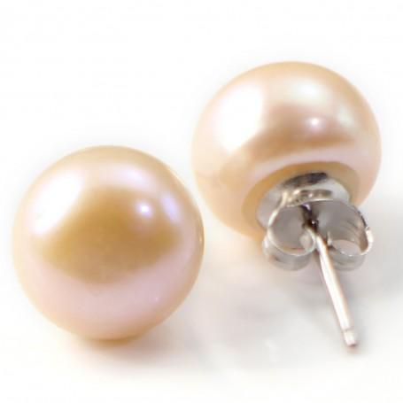 Earring  silver 925  Freshwater Pearl 11-12mm X 2pcs
