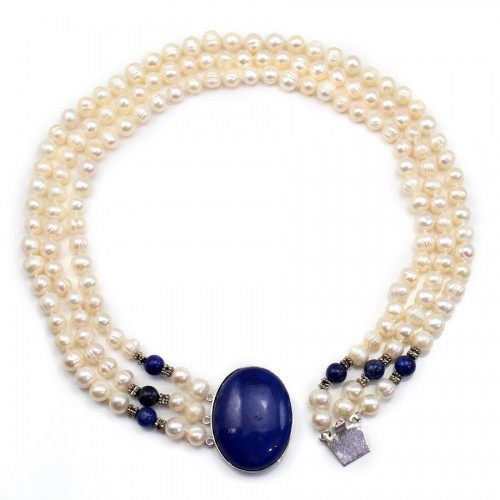 Necklace Torsade Freshwater Pearl & cabochon Lapis Lazuli