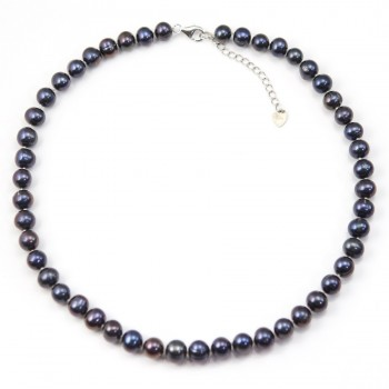 Simple Necklace dark bleu Pearl Freshwater 8-9mm