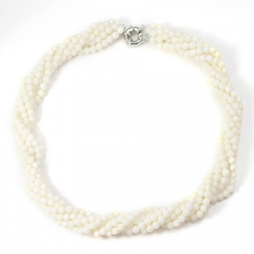 Torsade Necklace white sea bamboo 6 strands