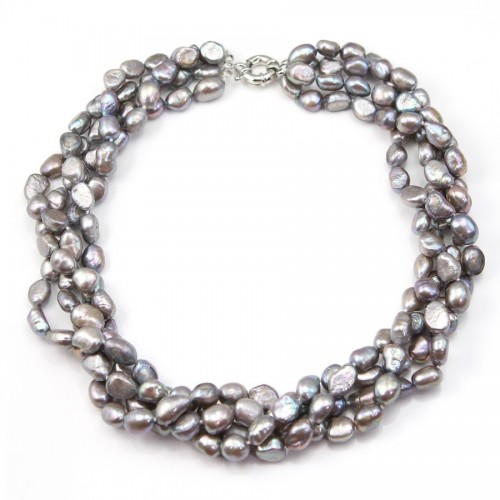 Necklace Torsade Grey Tinted Freshwater Pearl 4 stands