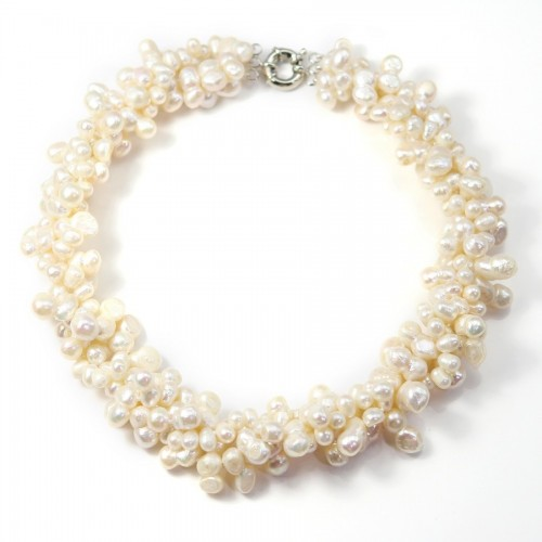 Necklace Torsade white Freshwater Pearl 4 stands