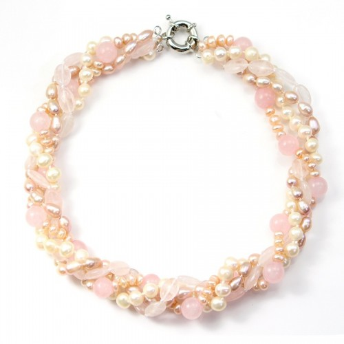 Collier Torsade quartz rose & perles d'eau douce