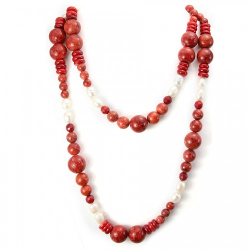 Freshwater Pearl &  perle orail eponse Necklace X 90cm