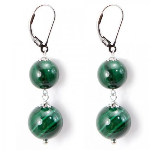 Earring silver 925  3 Boule Malachite X 2 pcs