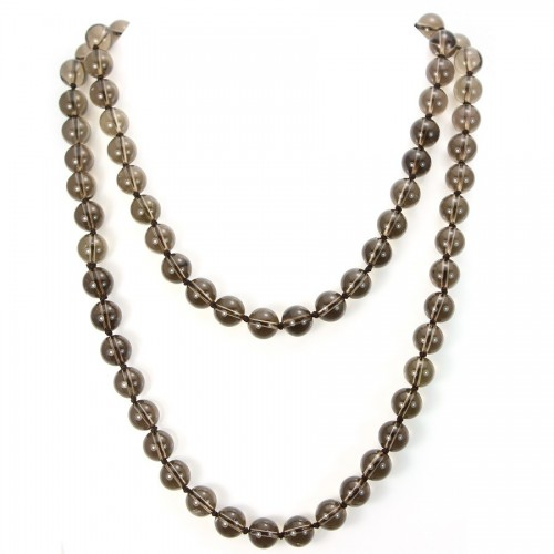 Necklace smoky quartz 10mm 90cm