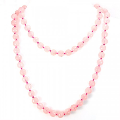 Necklace rose quartz 10mm 90cm