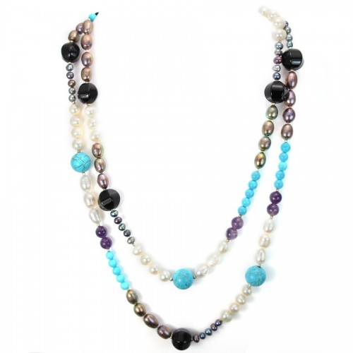 Necklace turquoise reconstitue & amethyste & freshwater pearls 110cm