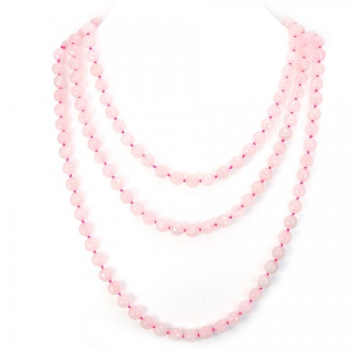 Necklace quartez rose bead 8mm X  140cm