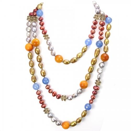 Necklace Freshwater Pearl&carnelian&agate&smoke quartz 140cm