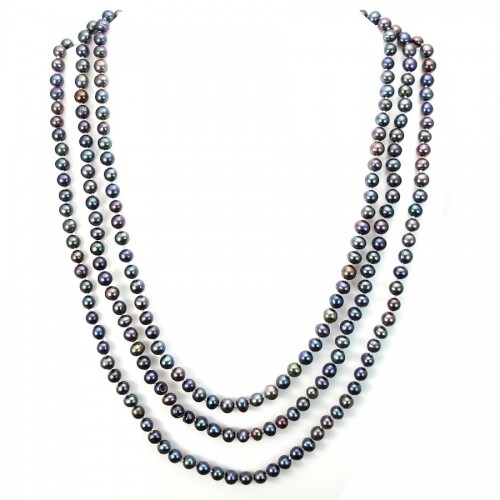Necklace freshwater pearl dark blue 6-7mmX 180cm