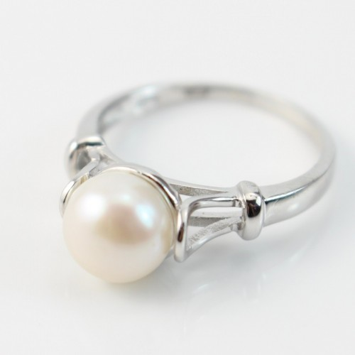 Sterling silver ring with white freshwater pearl x 1pc