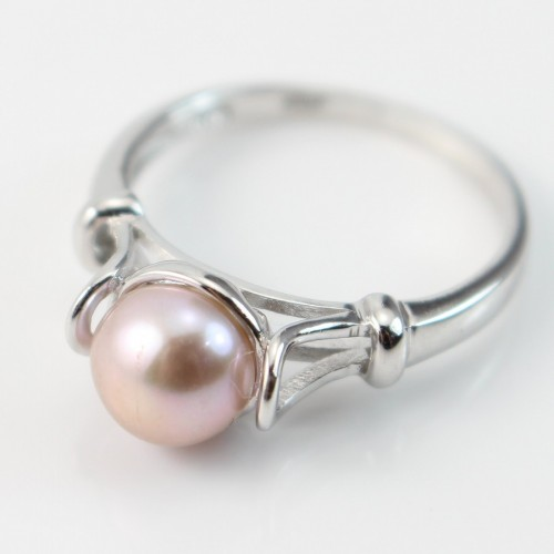 Sterling silver ring with violet freshwater pearl x 1pc