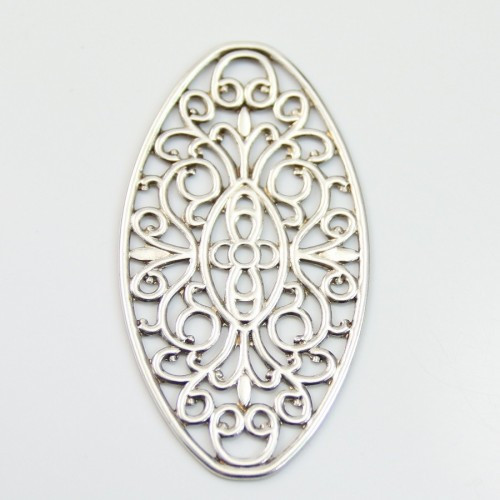 Ovale Filigreed Skeleton silver tone 27*50mm x 2pcs