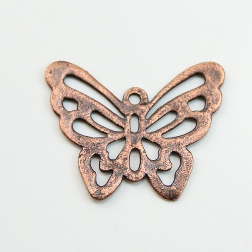 Butterfly  Filigreed old copper tone 25x30mm x 1pc