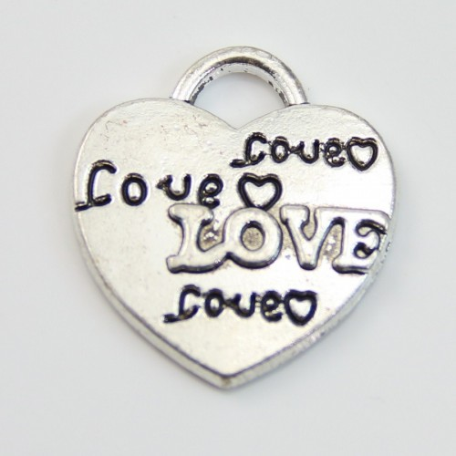 Charm heart & love silver tone 22*24mm x 1 pc