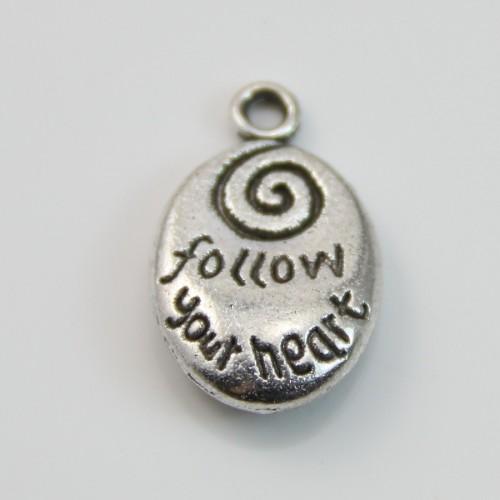 Charm spiral silver tone 13*20mm x 2pcs
