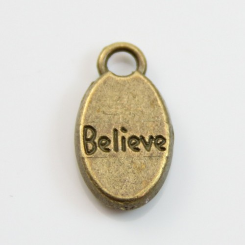 Charms message believe bronze 9*15mm x 4pcs