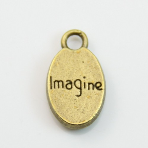 Charms message imagine bronez 9*15mm x 4pcs