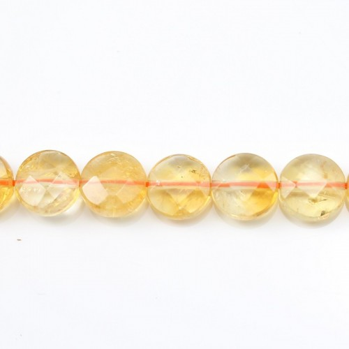 Citrine Faceted Flat Round 10mm x 40cm