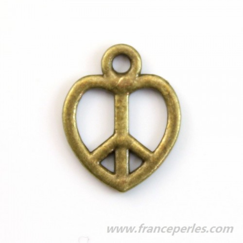 Peace & love charm bronze tone 14mm x 4pcs
