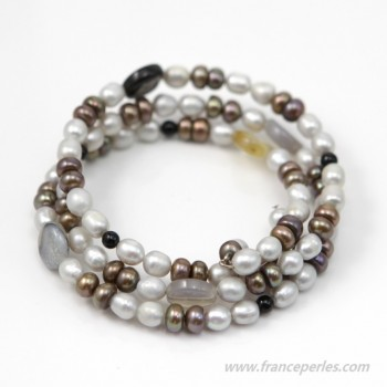 Bracelet freshwater pearl and stone 3 rows