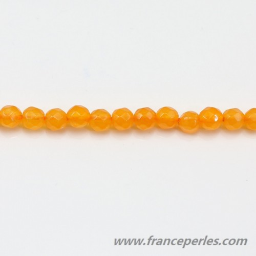 Tinted  rond faceted Jade orange  4mm X 40cm