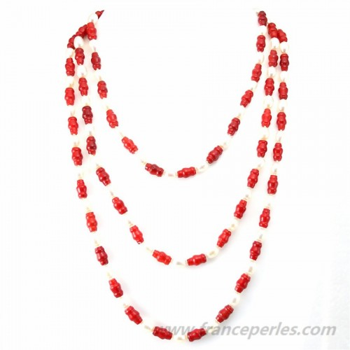 Necklace Red Bamboo Sea & Freshwater Pearl