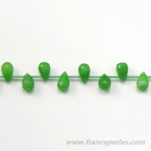 Jade Faceted Drop Tinted Green 5x9mm x 2pcs