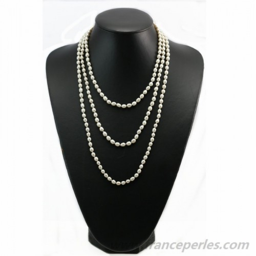 Gray oval freshwater pearl necklace 160cm