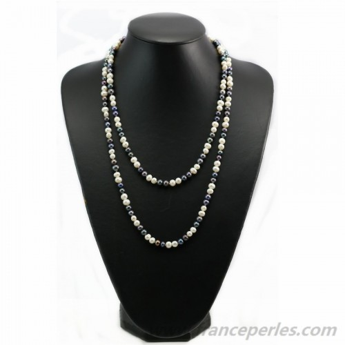 Multicolor white and gray freshwater pearl necklace 140cm